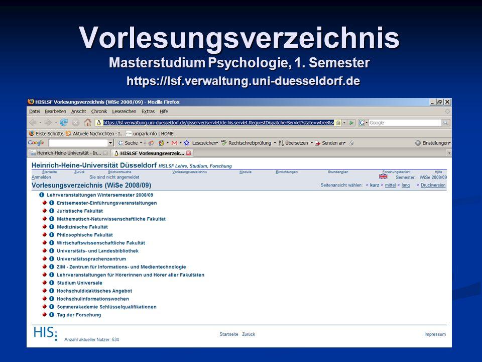 Vorlesungsverzeichnis Masterstudium Psychologie, 1. Semester