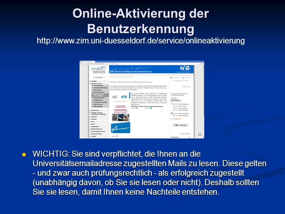 Online-Aktivierung der Benutzerkennung