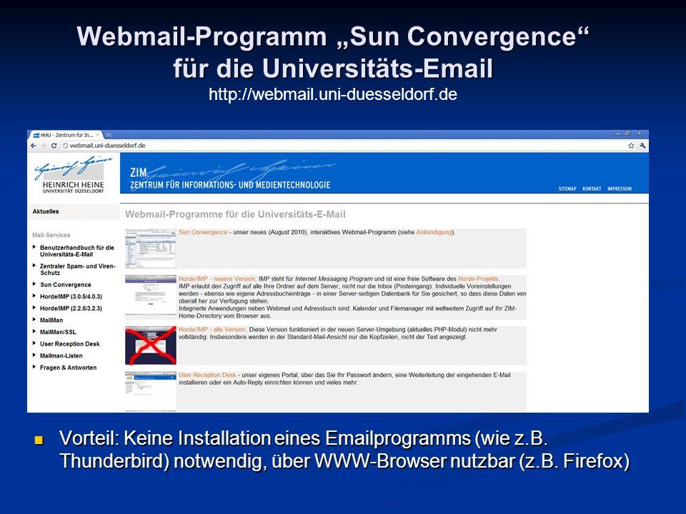"""Webmail-Programm """"Sun Convergence für die Universitäts-Email"""