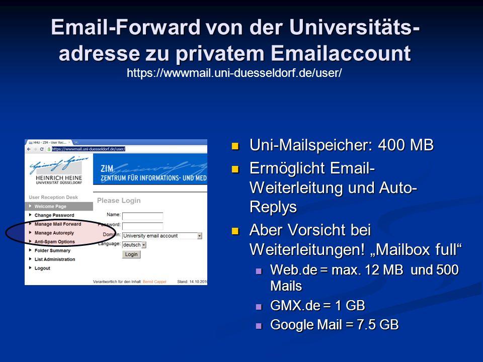 Email-Forward von der Universitäts-adresse zu privatem Emailaccount