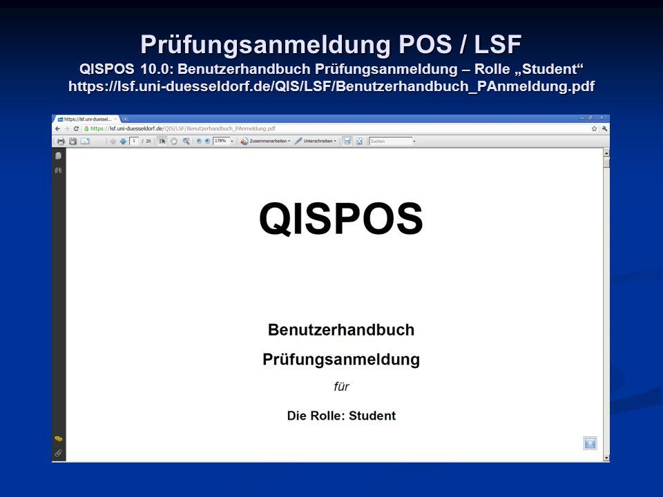 Prüfungsanmeldung POS / LSF QISPOS 10