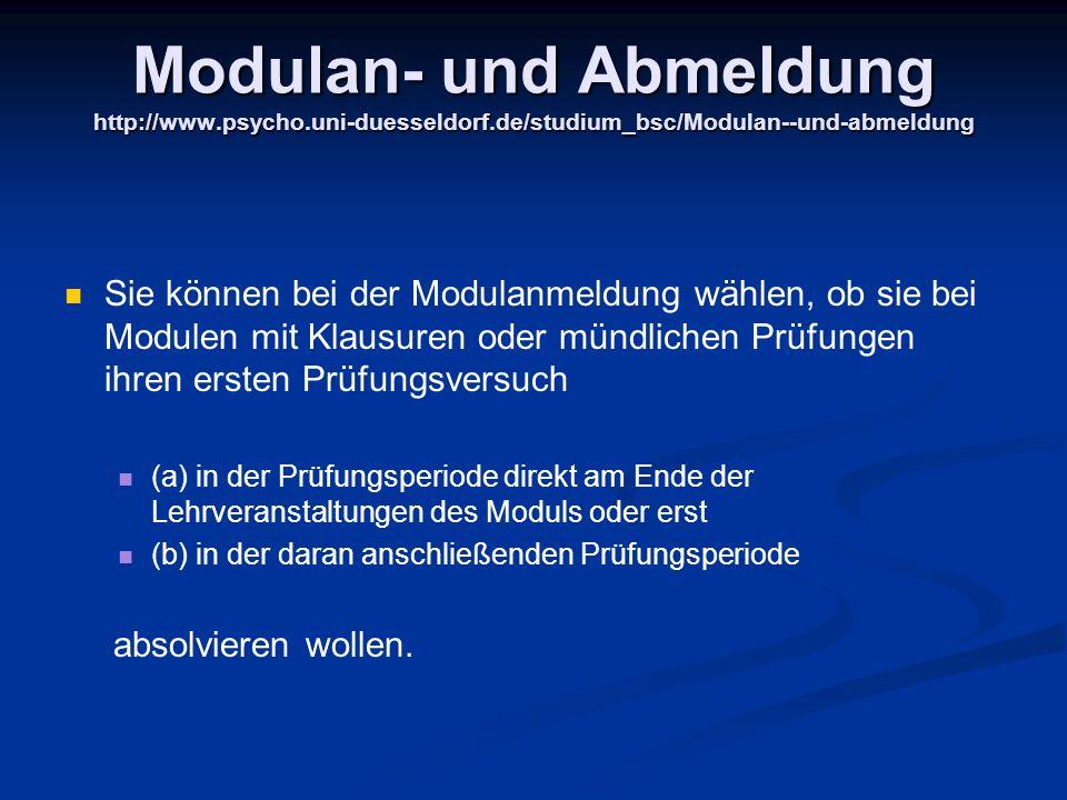 Modulan- und Abmeldung http://www. psycho. uni-duesseldorf