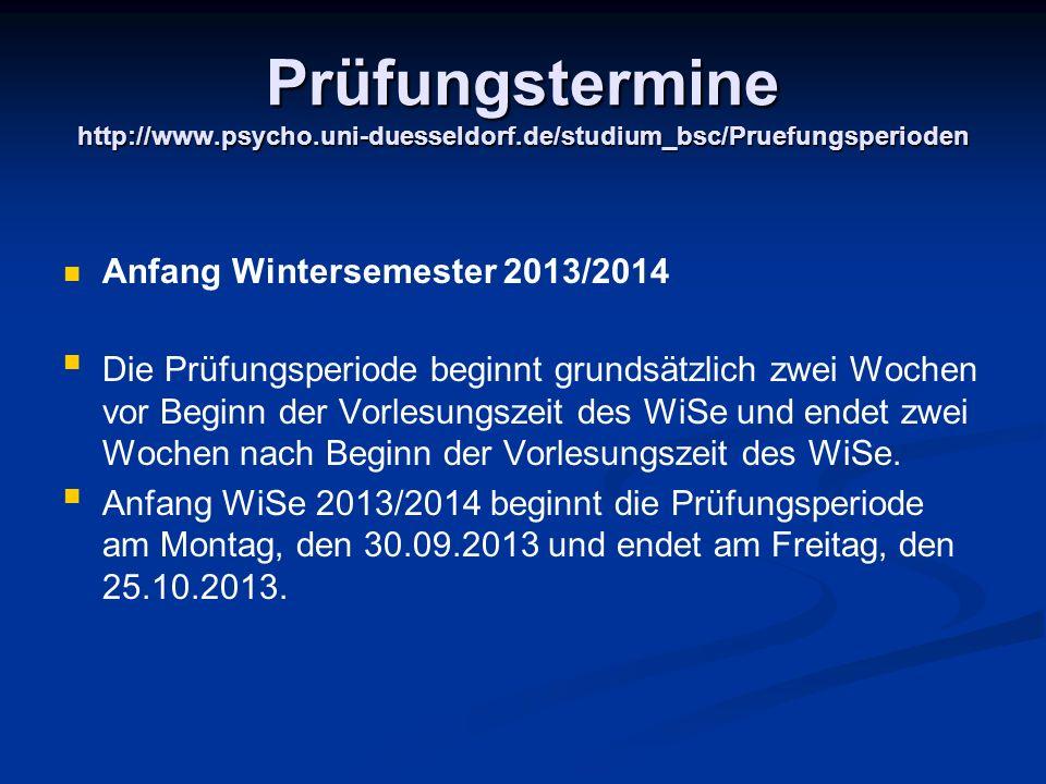Prüfungstermine http://www. psycho. uni-duesseldorf
