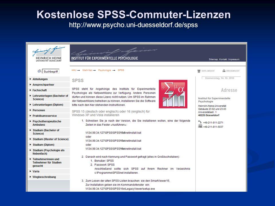 Kostenlose SPSS-Commuter-Lizenzen