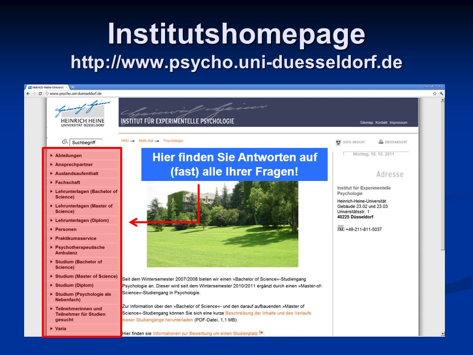 Institutshomepage http://www.psycho.uni-duesseldorf.de