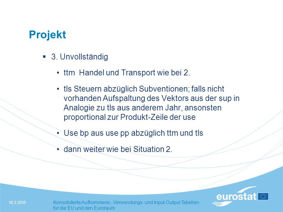 Projekt 3. Unvollständig ttm Handel und Transport wie bei 2.