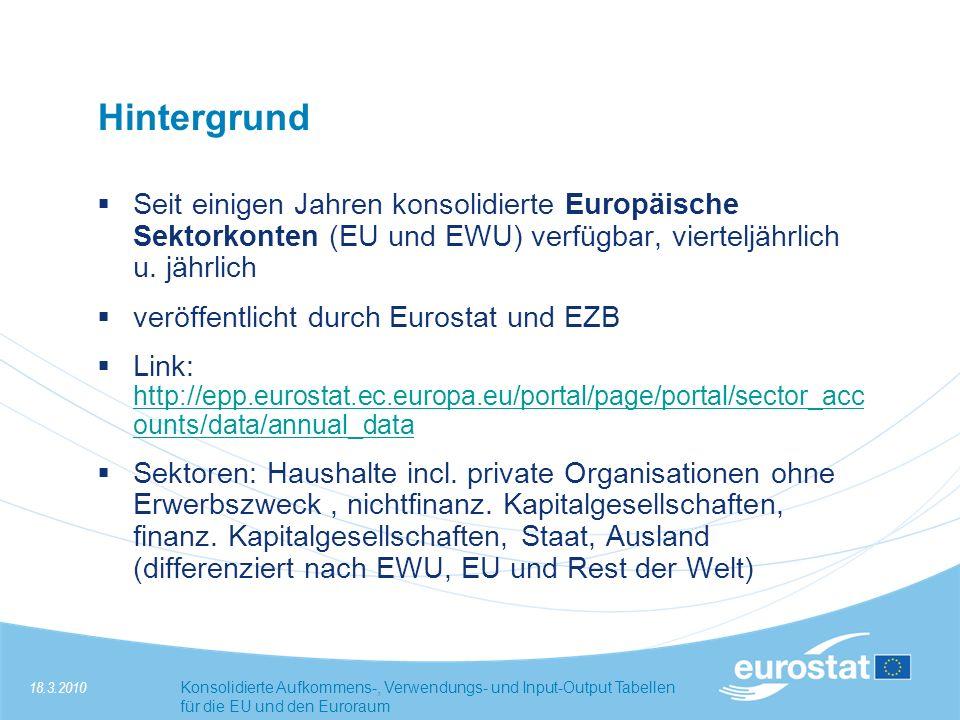 Hintergrund Seit einigen Jahren konsolidierte Europäische Sektorkonten (EU und EWU) verfügbar, vierteljährlich u. jährlich.