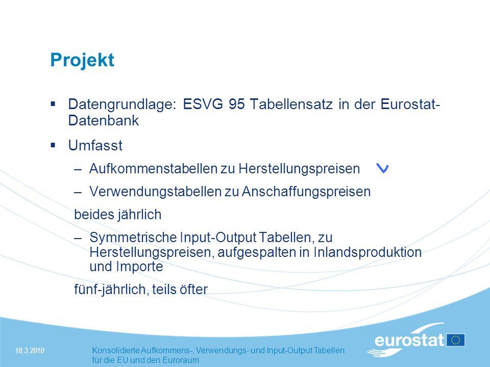 Projekt Datengrundlage: ESVG 95 Tabellensatz in der Eurostat-Datenbank
