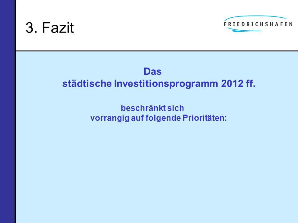 3. Fazit Das städtische Investitionsprogramm 2012 ff.
