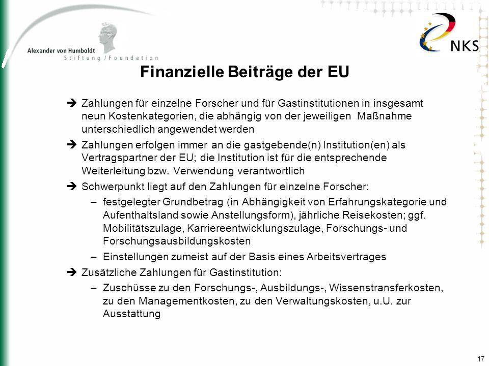 Finanzielle Beiträge der EU