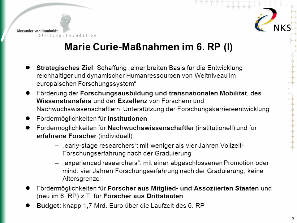 Marie Curie-Maßnahmen im 6. RP (I)