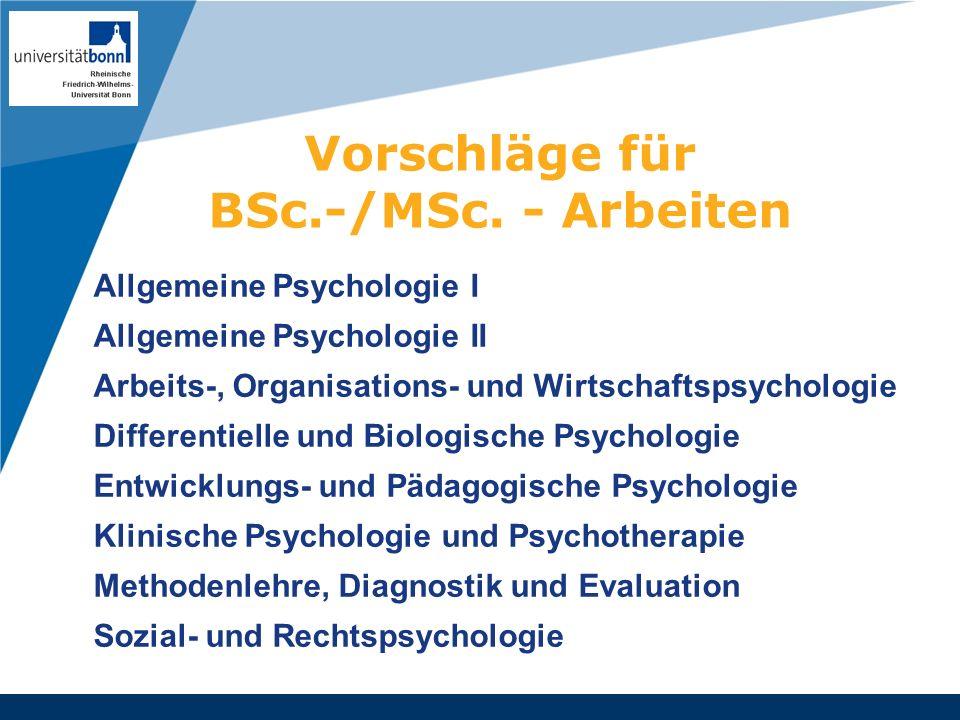 Vorschläge für BSc.-/MSc. - Arbeiten