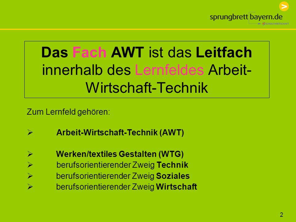 Das Fach AWT ist das Leitfach innerhalb des Lernfeldes Arbeit-Wirtschaft-Technik