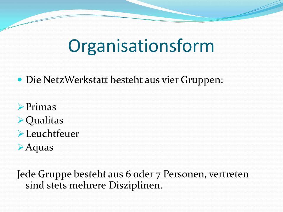Organisationsform Die NetzWerkstatt besteht aus vier Gruppen: Primas
