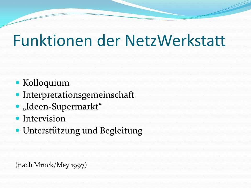 Funktionen der NetzWerkstatt
