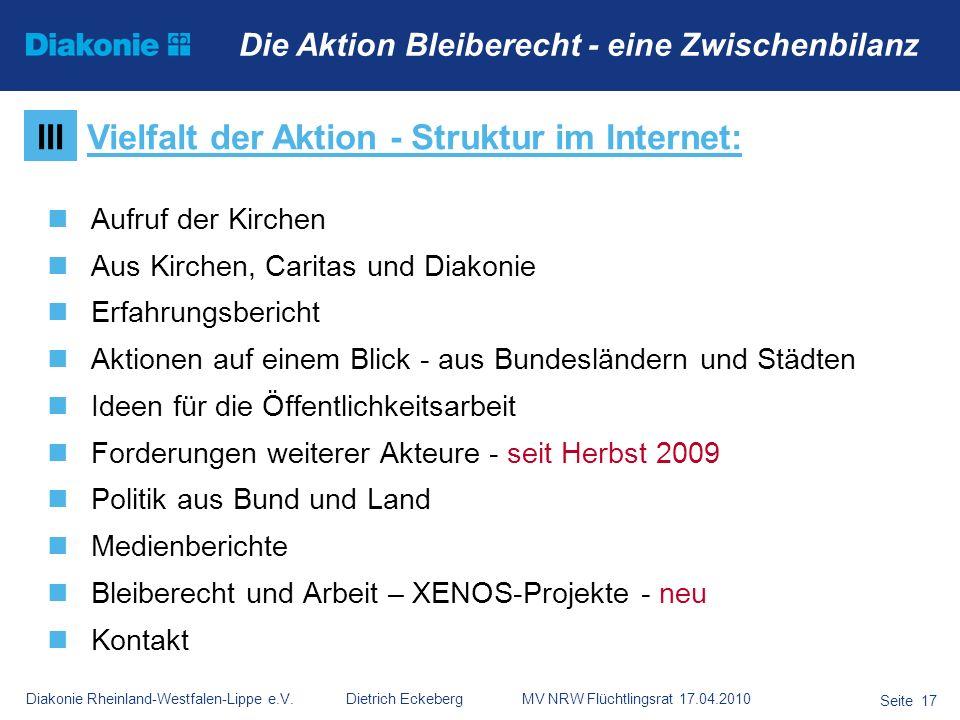Vielfalt der Aktion - Struktur im Internet: