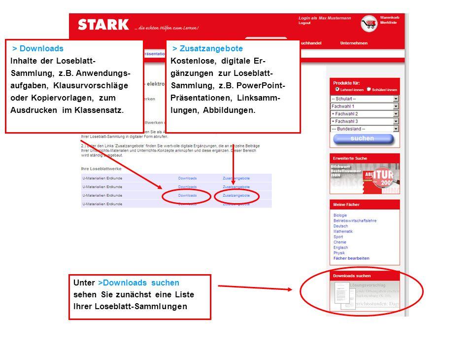 > Downloads Inhalte der Loseblatt-Sammlung, z.B. Anwendungs-aufgaben, Klausurvorschläge oder Kopiervorlagen, zum Ausdrucken im Klassensatz.