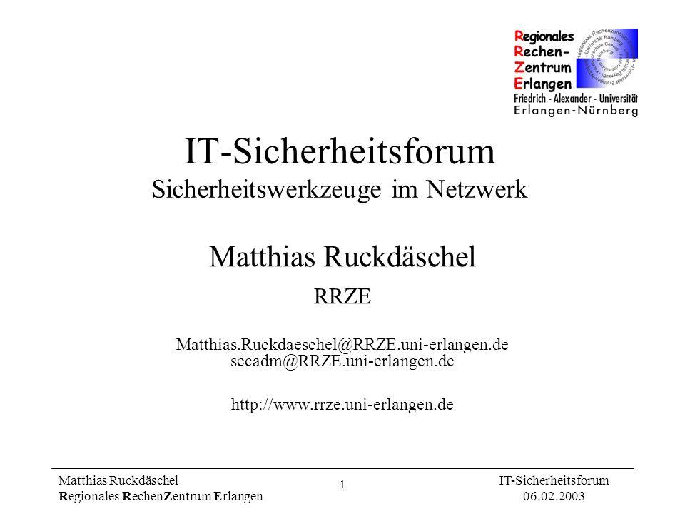 IT-Sicherheitsforum Sicherheitswerkzeuge im Netzwerk