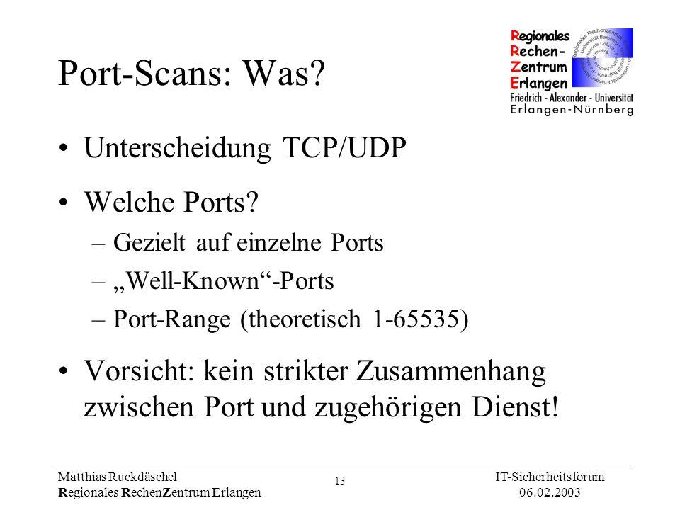 Port-Scans: Was Unterscheidung TCP/UDP Welche Ports