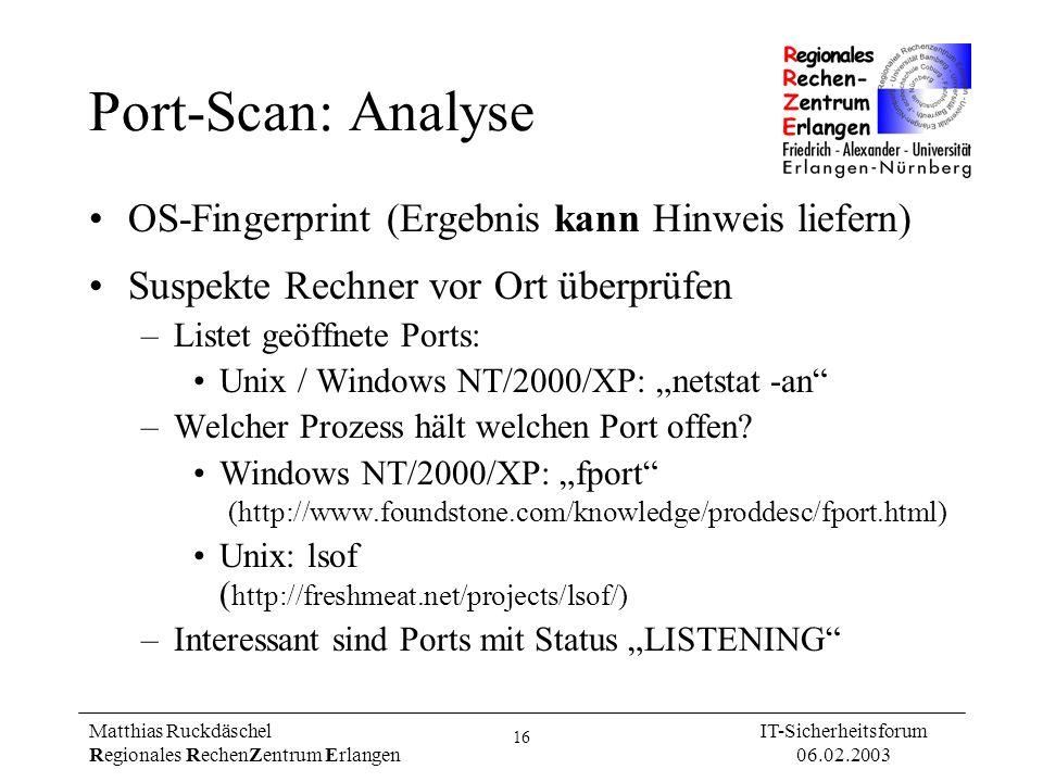 Port-Scan: Analyse OS-Fingerprint (Ergebnis kann Hinweis liefern)