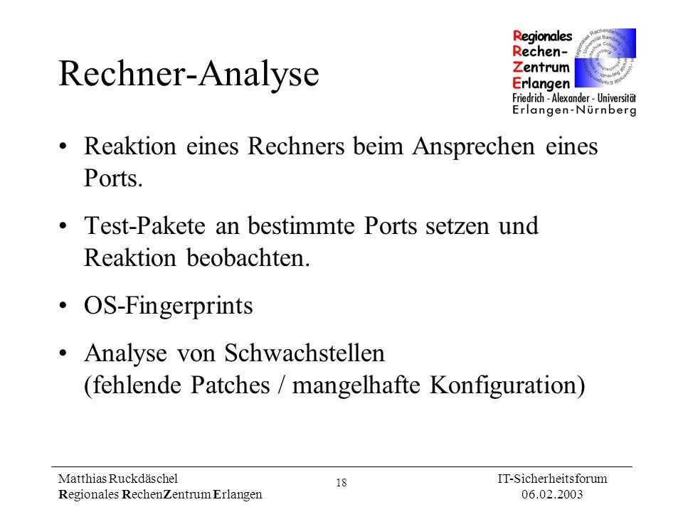 Rechner-Analyse Reaktion eines Rechners beim Ansprechen eines Ports.