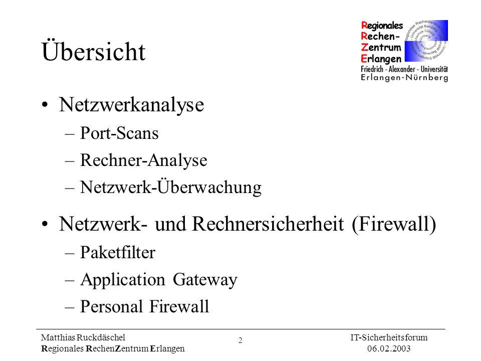Übersicht Netzwerkanalyse Netzwerk- und Rechnersicherheit (Firewall)