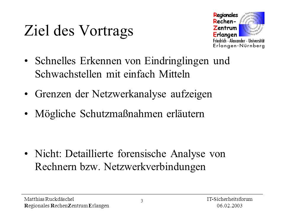 Ziel des VortragsSchnelles Erkennen von Eindringlingen und Schwachstellen mit einfach Mitteln. Grenzen der Netzwerkanalyse aufzeigen.