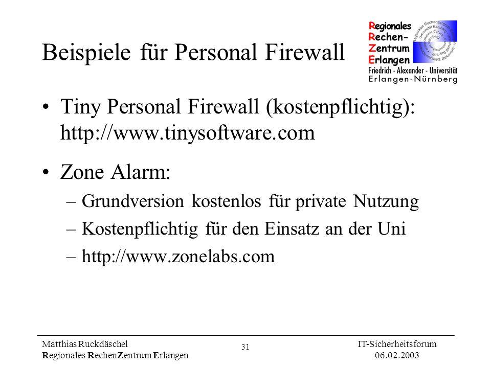 Beispiele für Personal Firewall