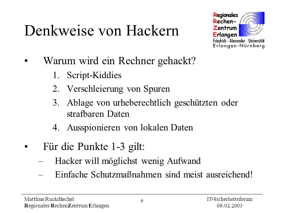 Denkweise von Hackern Warum wird ein Rechner gehackt