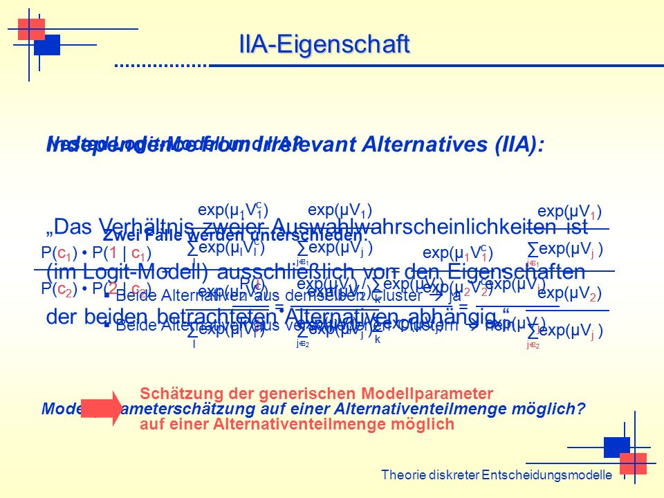 IIA-Eigenschaft Independence from Irrelevant Alternatives (IIA):