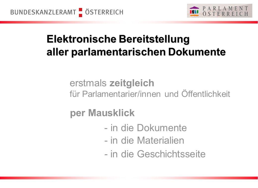 Elektronische Bereitstellung aller parlamentarischen Dokumente