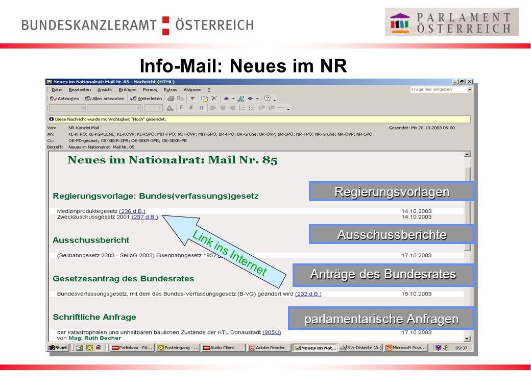 Info-Mail: Neues im NR Regierungsvorlagen Ausschussberichte
