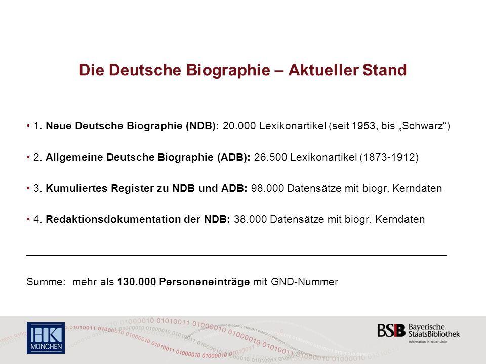 Die Deutsche Biographie – Aktueller Stand