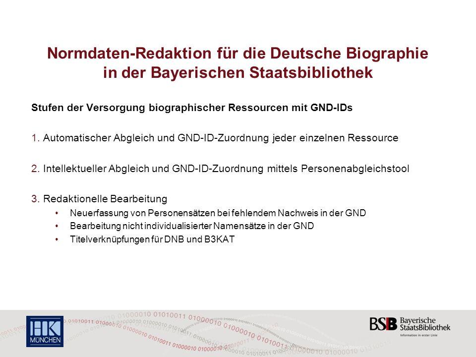 Normdaten-Redaktion für die Deutsche Biographie in der Bayerischen Staatsbibliothek