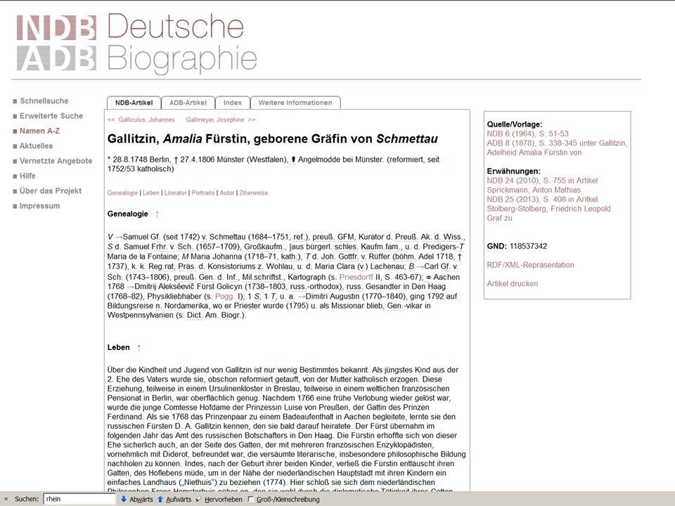 Die Deutsche Biographie – Beispiel Fürstin Gallitzin