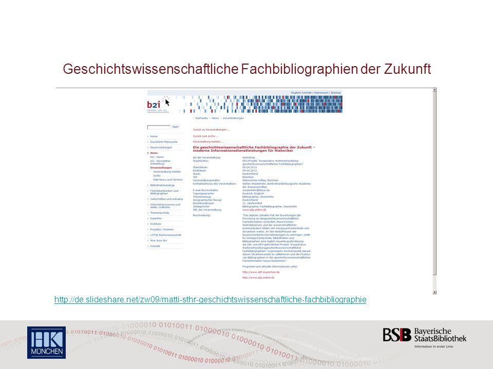 Geschichtswissenschaftliche Fachbibliographien der Zukunft