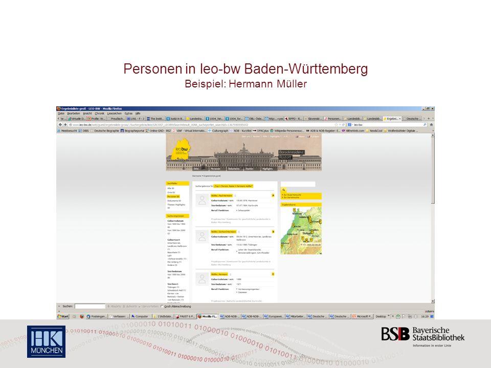 Personen in leo-bw Baden-Württemberg Beispiel: Hermann Müller
