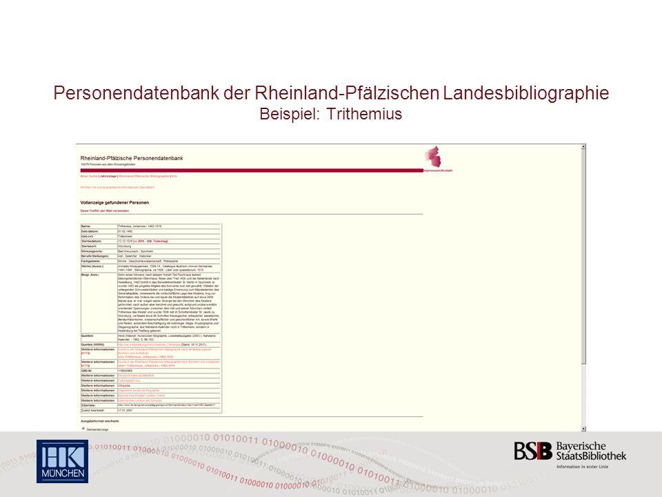 Personendatenbank der Rheinland-Pfälzischen Landesbibliographie Beispiel: Trithemius