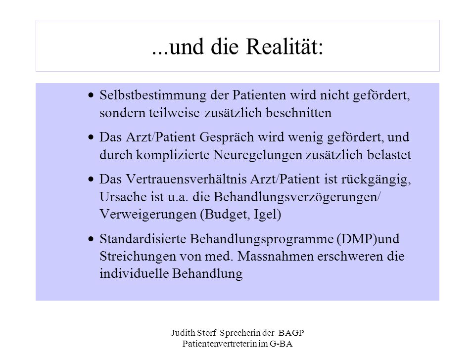 Judith Storf Sprecherin der BAGP Patientenvertreterin im G-BA