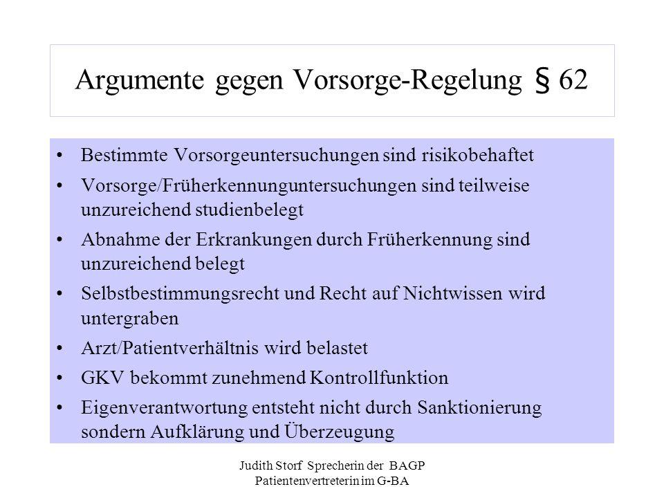 Argumente gegen Vorsorge-Regelung § 62