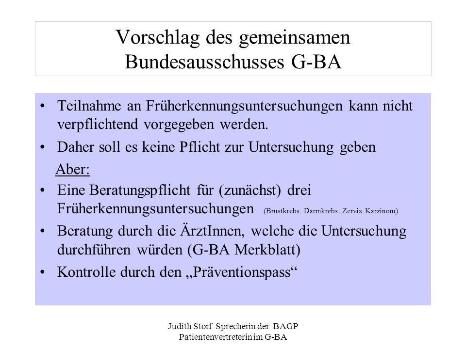 Vorschlag des gemeinsamen Bundesausschusses G-BA
