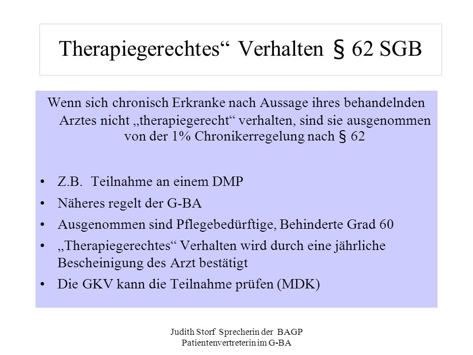 Therapiegerechtes Verhalten § 62 SGB