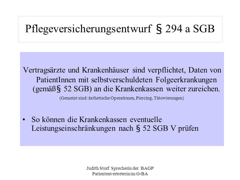 Pflegeversicherungsentwurf § 294 a SGB