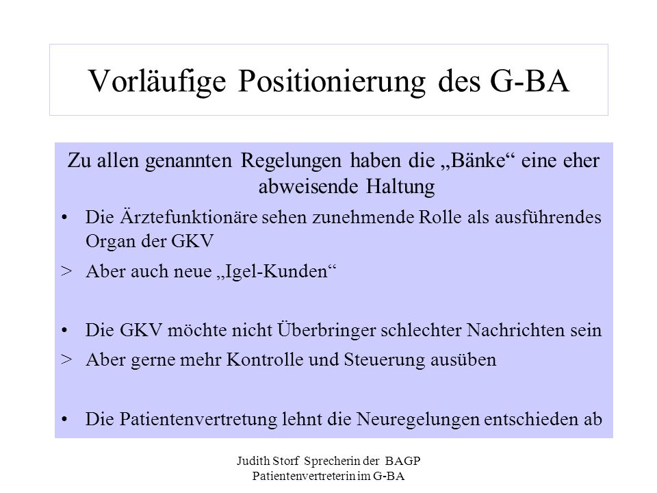 Vorläufige Positionierung des G-BA