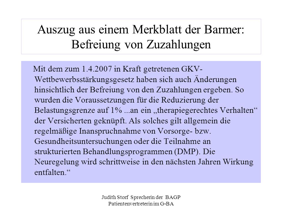 Auszug aus einem Merkblatt der Barmer: Befreiung von Zuzahlungen