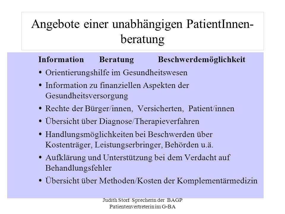 Angebote einer unabhängigen PatientInnen- beratung