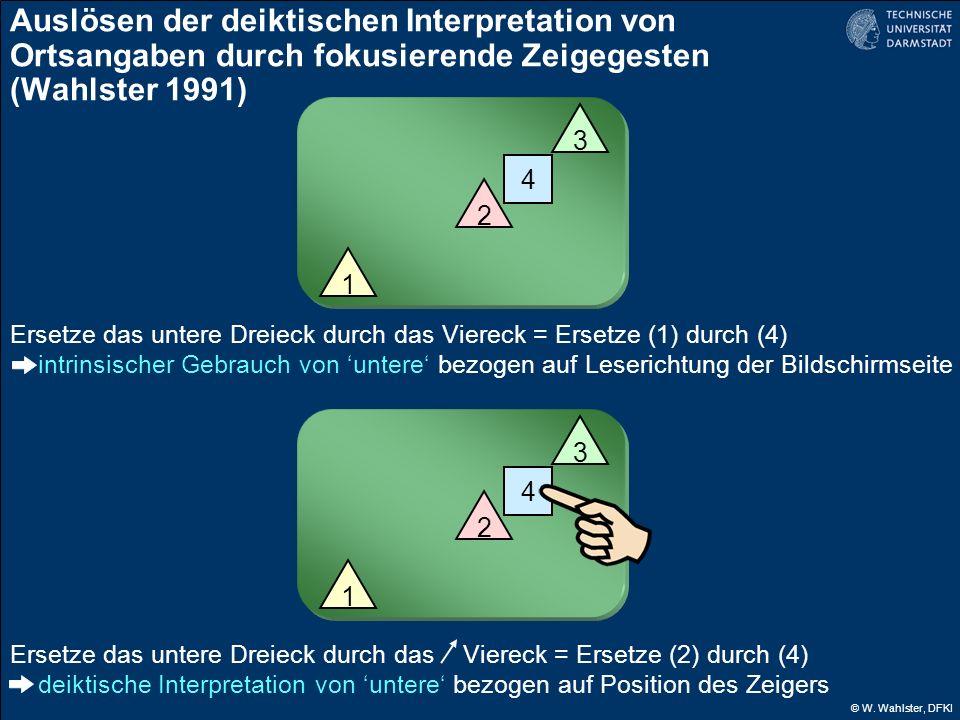 Auslösen der deiktischen Interpretation von Ortsangaben durch fokusierende Zeigegesten (Wahlster 1991)