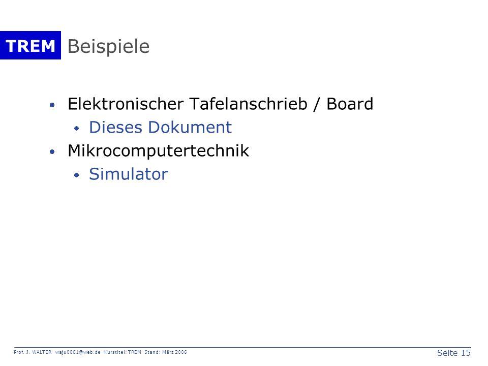 Beispiele Elektronischer Tafelanschrieb / Board Dieses Dokument