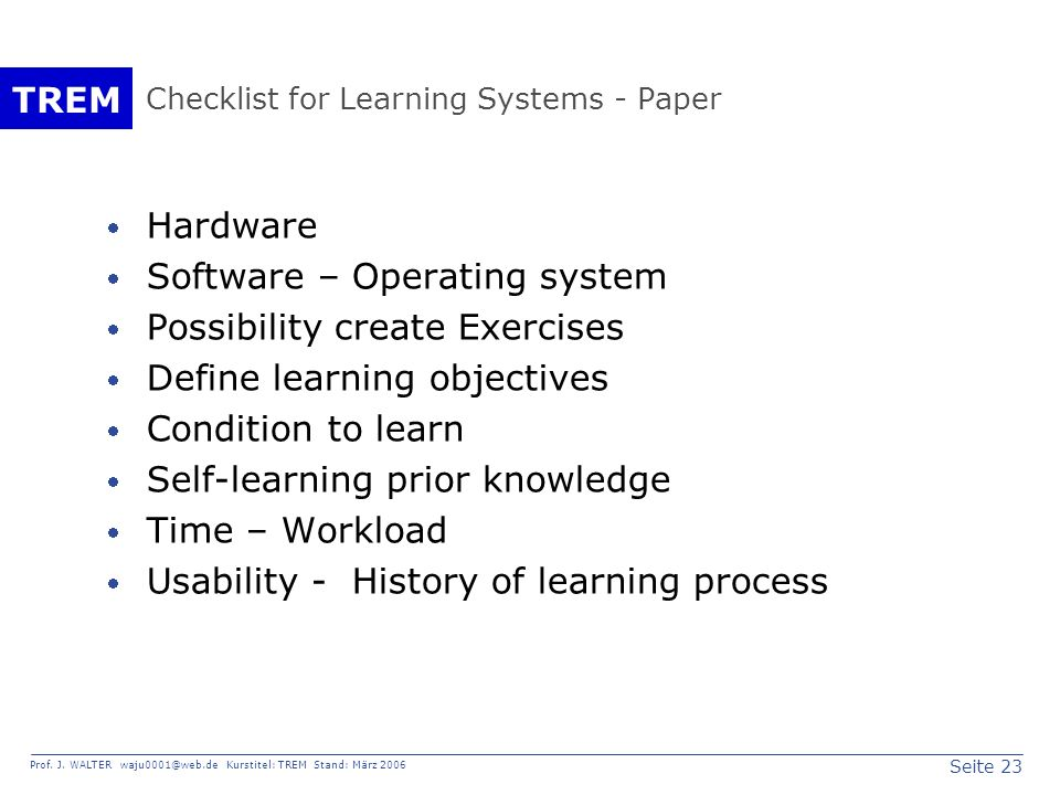 Checklist for Learning Systems - Paper