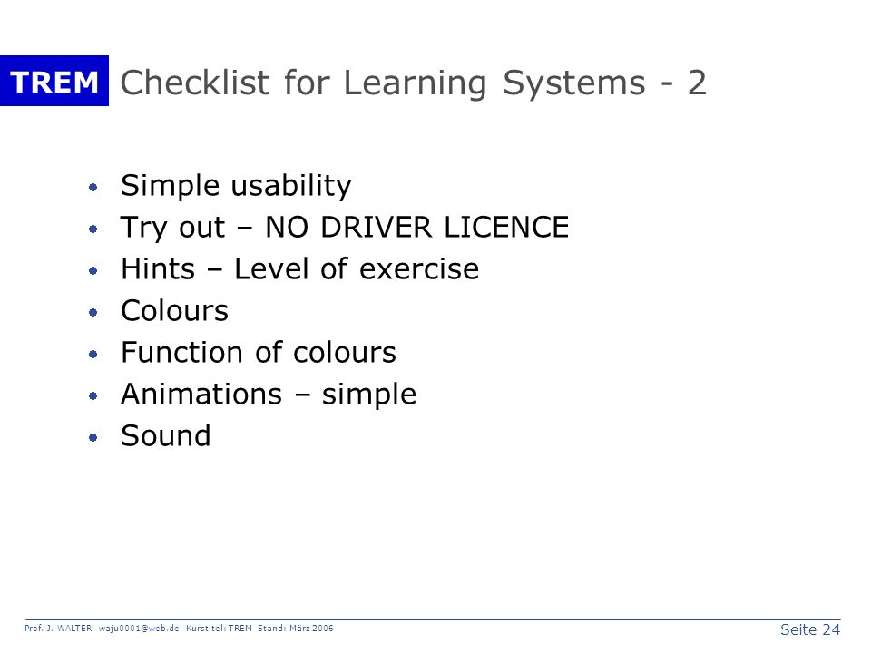 Checklist for Learning Systems - 2